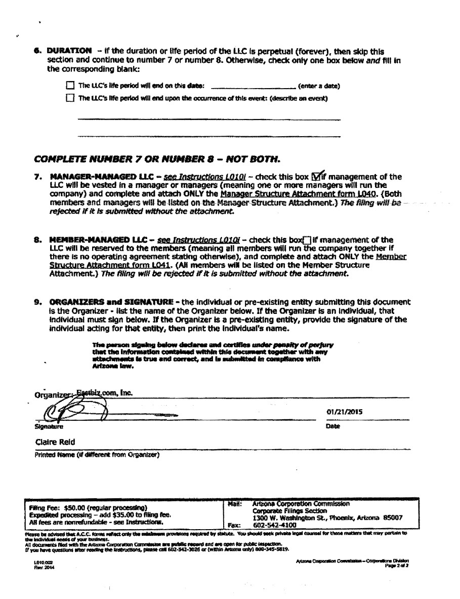 Arizona Incorporation Registered Agent IncParadise - S corp articles of incorporation template