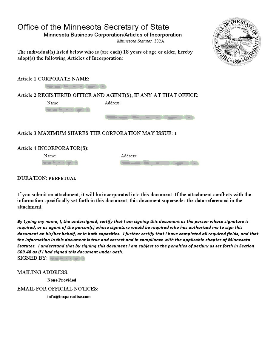 articles of incorporation mn Minnesota Incorporation