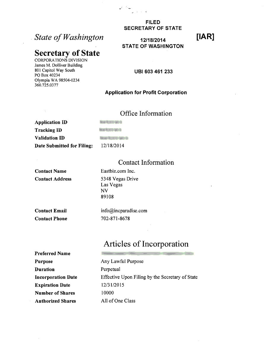 washington incorporation  u0026 registered agent