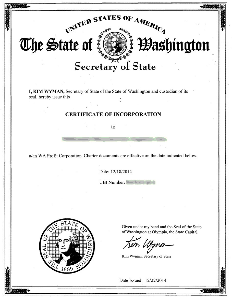 certificate of organization template - washington incorporation registered agent incparadise