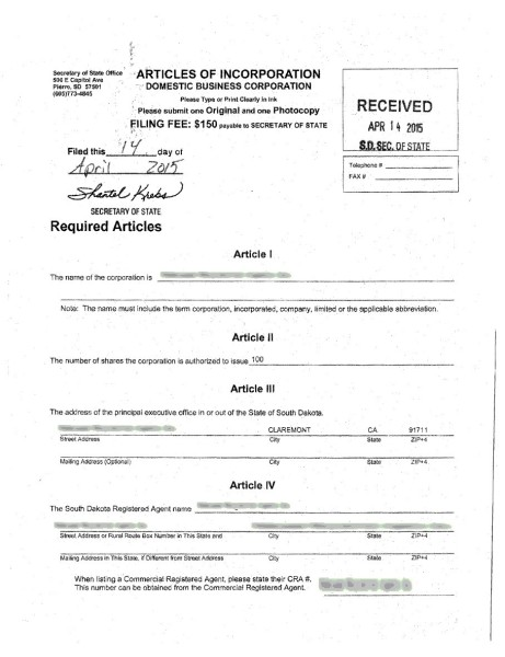Articles of Incorporation 1st page