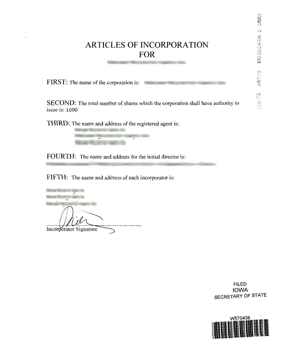 Iowa articles for Certificate of organization template