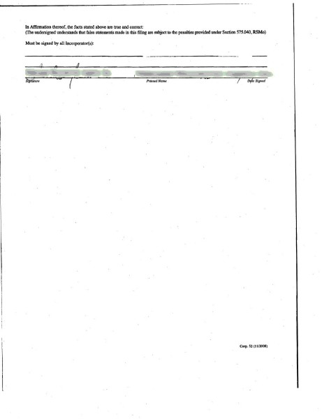 Articles of Incorporation 2nd page