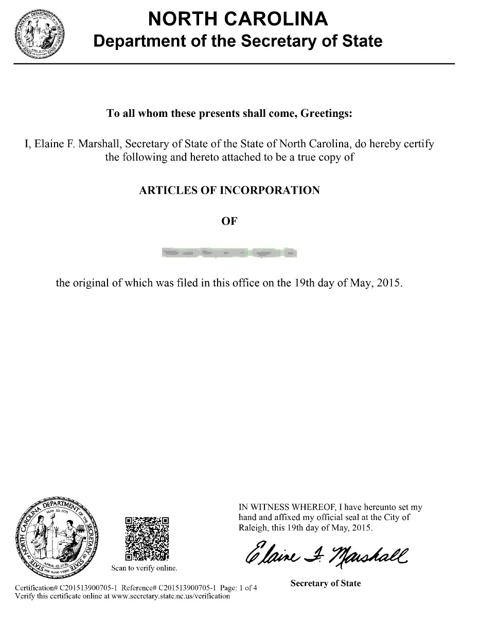 North carolina articles incparadise certificate of authenticity xflitez Images
