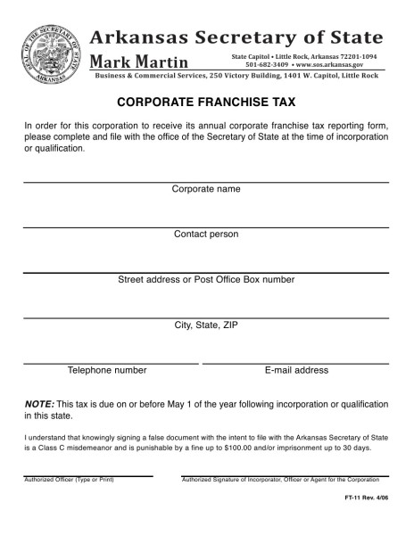Corporate Franchise Tax